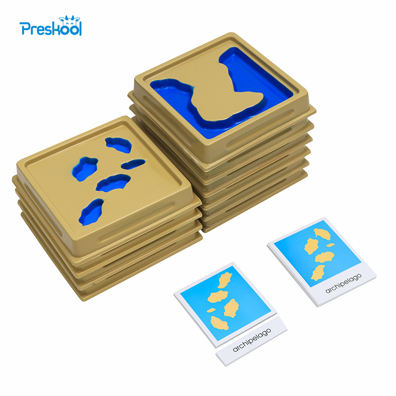 Baby Toy Montessori Geography Mould Land and Water Form Trays Set 1 Set 2 with Cards Early Education Kids Brinquedos Juguetes 126 page sanmao joins the army baby and kids early education story book with pin yin and pictures