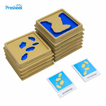Baby Toy Montessori Geography Mould Land and Water Form Trays Set 1 Set 2 with Cards Early Education Kids Brinquedos Juguetes