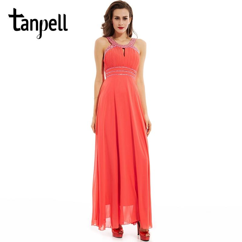 Tanpell straps prom dress elegant women beaded sleeveless floor length a line  dresses back pleats party 41d170889