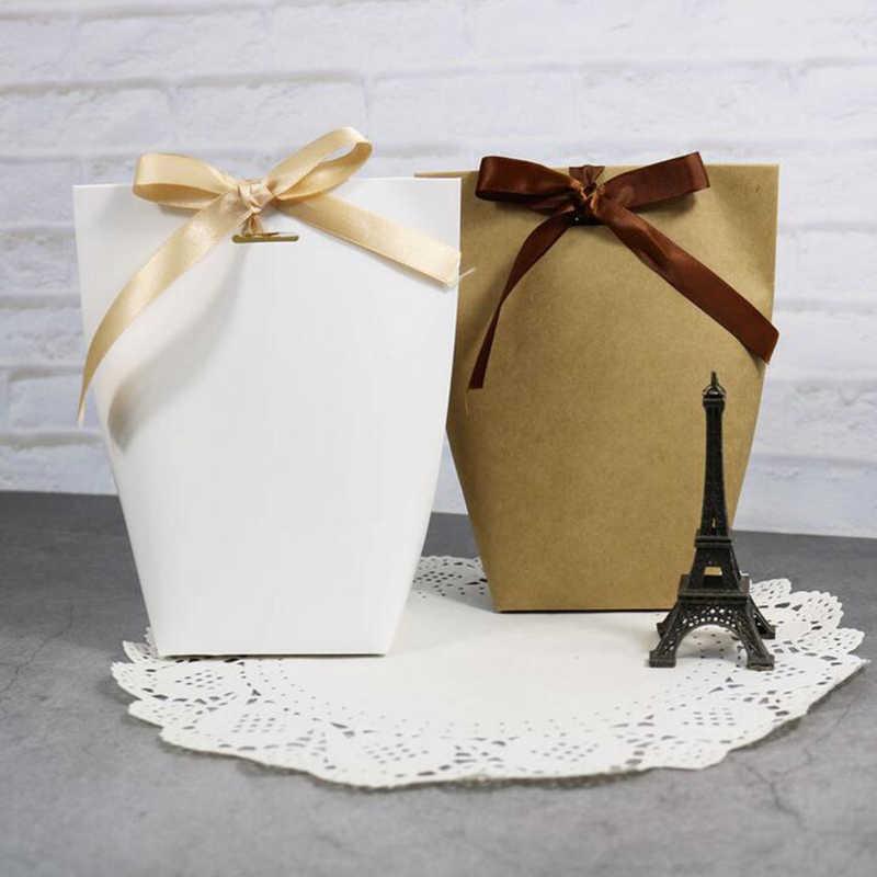 5 stücke Blank Weiß Kraft Schwarz Papier Tasche Candy Box Hochzeit Gefälligkeiten Geschenk Box Paket Geburtstag Party Dekoration Taschen Mit band
