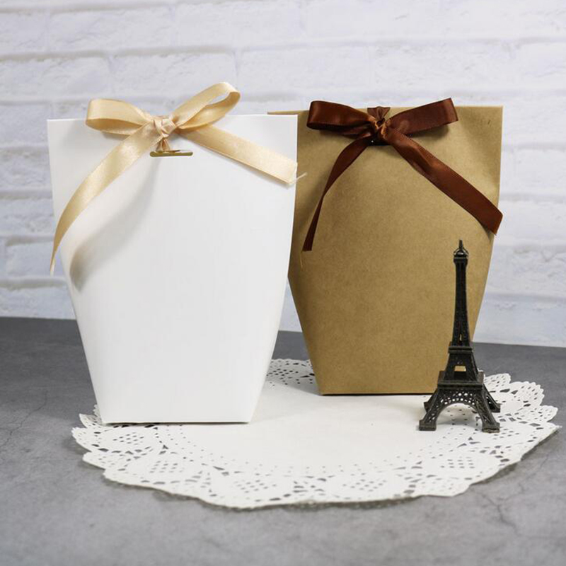 5pcs Blank White Kraft Black Paper Bag Candy Box Wedding Favors Gift Box Package Birthday Party Decoration Bags With Ribbon