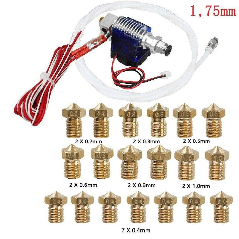 0,2-1,0 мм 19x насадки металлические 12 в экструдер набор для 1,75 мм 3d принтера Горячий Конец головки