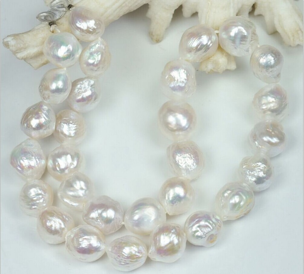 HUGE NATURAL 12 13MM Australian south seas kasumi white pearl necklace 18