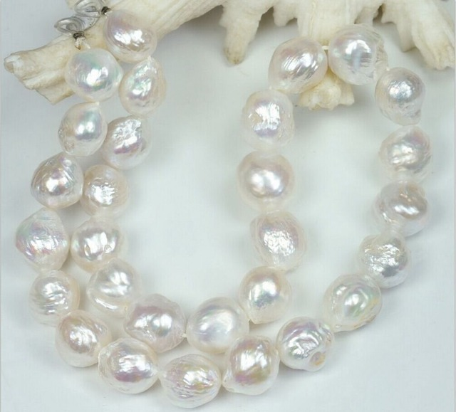 """12-13MM WHITE FRESHWATER Cultured BAROQUE PEARL NECKLACE 34/"""""""