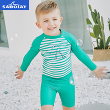 SABOLAY Children's Long Sleeve Swimwear Striped Quick Dry UV Protection Swimwear Beach Surfing Kids Swimsuit Sunscreen UPF 50+