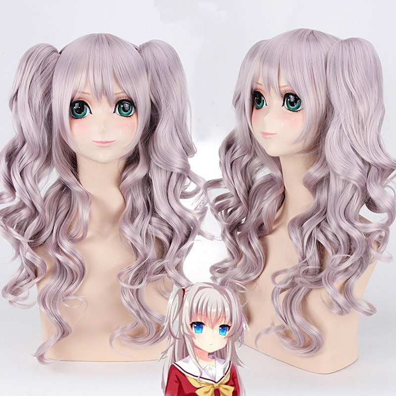 Charlotte Tomori Nao 70cm Long Curly Wavy Cosplay Wig for Women Female High Quality Heat Resistant Synthetic Hair Purple Anime hot harajuku synthetic hair wig anime cosplay party wig women long curly dark blue wig for black women heat resistant peruca wig