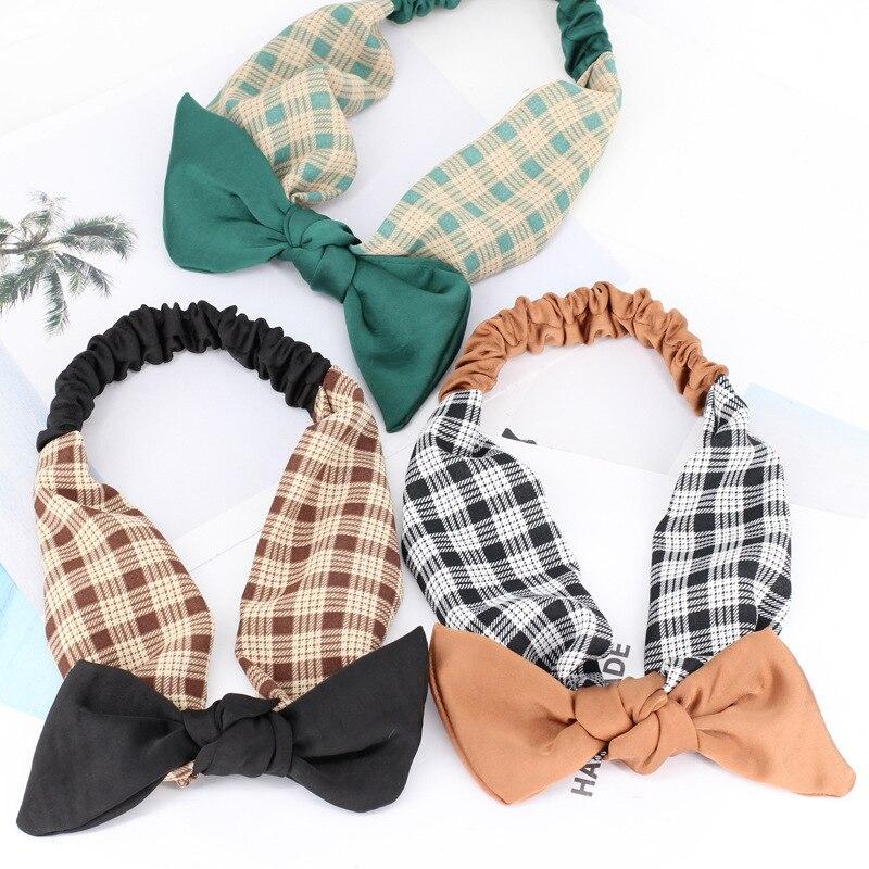 Korean Fashion Bow Knot Hairband Elastic Plaid Striped Turban Headband Soft Cloth Hairband Hair Accessories for Women Headwear