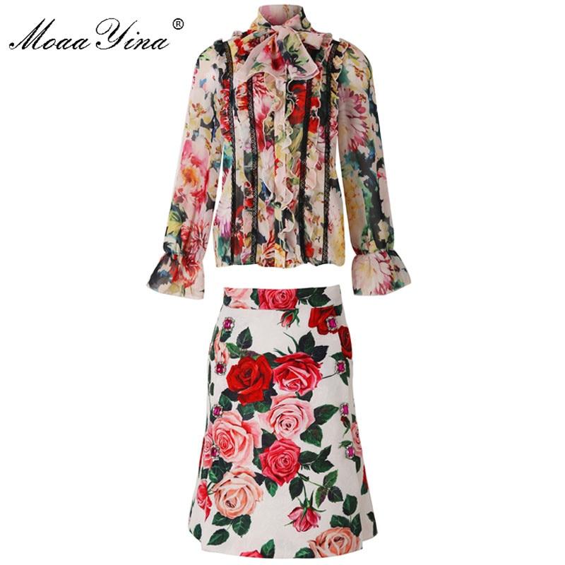 MoaaYina Fashion Designer Set Zomer Vrouwen Lange mouw Rose Bloemen Print Kant Ruches Elegante Top + Korte rok Twee stuk pak-in Sets voor dames van Dames Kleding op  Groep 1