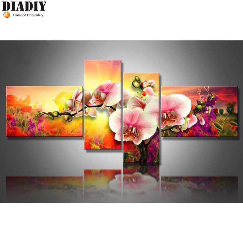 DIADIY Elmas Nakış Çiçek orkide 5D DIY Elmas Boyama 4 ADET Çiçek Elmas Boyama Çapraz Dikiş Taklidi Mozaik