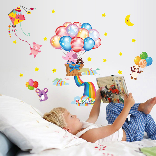 Waterproof Adhesive Can Remove Wall Stick Kindergarten Classroom Collage Wallpaper Balloon Cute Cartoon Children Room Wall St In Wall Stickers From