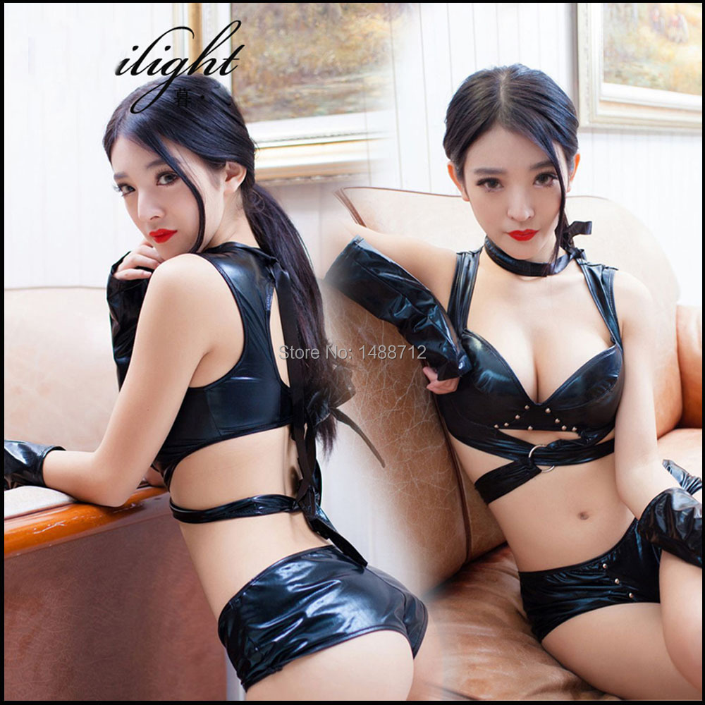 Ropa Erotica Sexy Leather Lingerie Set Hot Women Costumes -8196