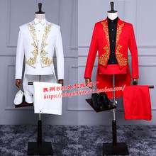 The men's dress red black and white Tuxedo Suit Party Costume clothing men's chorus dance stage singer costumes clothing(China)