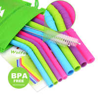 Reusable Silicone Flexible Bend Smoothies Straws Drinks -for 30 oz and 20 oz mugs - 10 Pieces (4 Small+4 Big +2 Cleaning Brushes