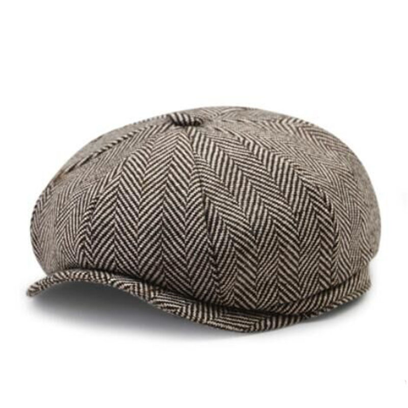 MAERSHEI Herringbone Tweed Gatsby Newsboy Cap Men Wool Ivy Hat Golf Driving Flat Cabbie Flat Unisex Berets Hat