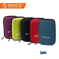 ORICO 5pcs 2.5 Inch Hard Drive Case External Storage hard disk case Boxes Power Bank USB Cable Portable Protection Bag Pouch