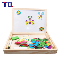 TQ Multifunctional Drawing Board Forest Animals Wooden Toys Educational Magnetic Puzzle Children Kids Jigsaw Baby Easel Gift