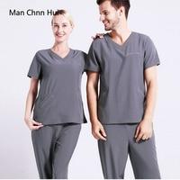Elasticity Spandex Body Nurse Uniform For Women Medical Suit Scrubs Suit Dental Hospital Set Work Wear Nursing Scrubs SPA