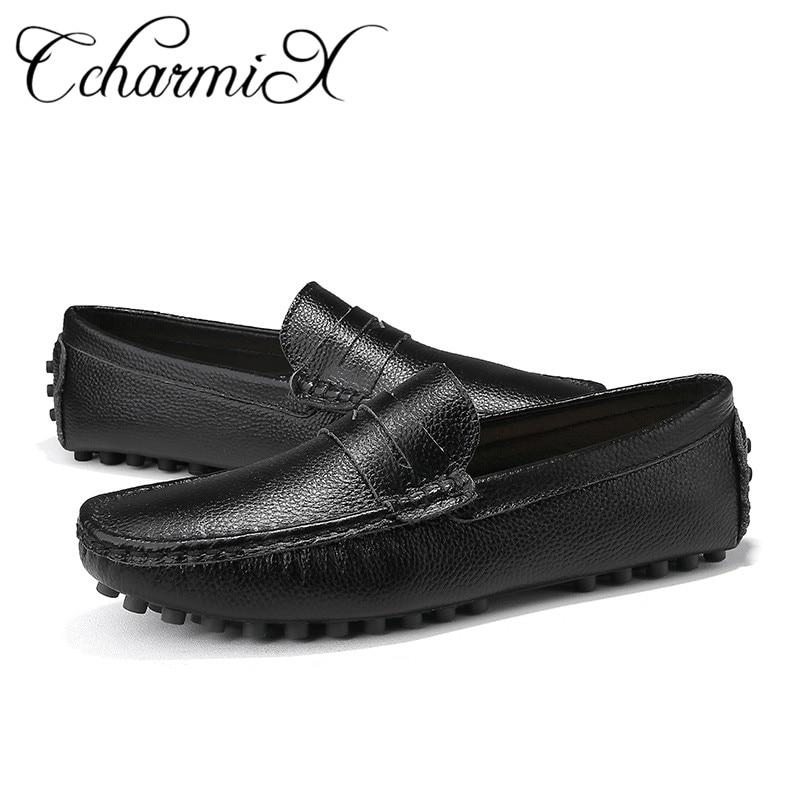 brown Cuir Ccharmix Hommes White Souple black Masculine Nouvelle Slip On Mocassins En Taille Mens Casual blue Grande Mode Arrivée 2019 Chaussures ASqAR