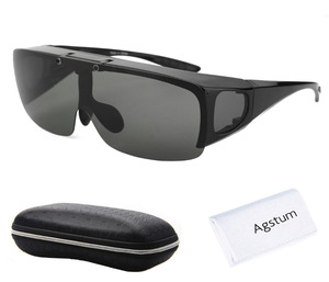 Image 1 - Agstum Mens Womens Wraparound Goggles Polarized Fishing Driving Glasses Flip Up Fit Over Sunglasses