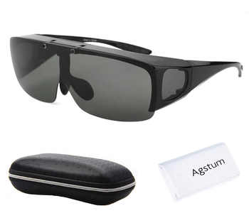 Agstum Mens Womens Wraparound Goggles Polarized Fishing Driving Glasses Flip Up Fit Over Sunglasses - DISCOUNT ITEM  45% OFF All Category