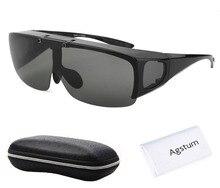 Agstum Mens Womens 랩 어라운드 고글 편광 낚시 안경 운전 선글라스에 맞는 플립
