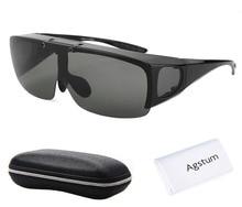 Agstum męskie damskie okulary ochronne spolaryzowane wędkarskie okulary do jazdy z unoszoną szybą pasują do okularów przeciwsłonecznych