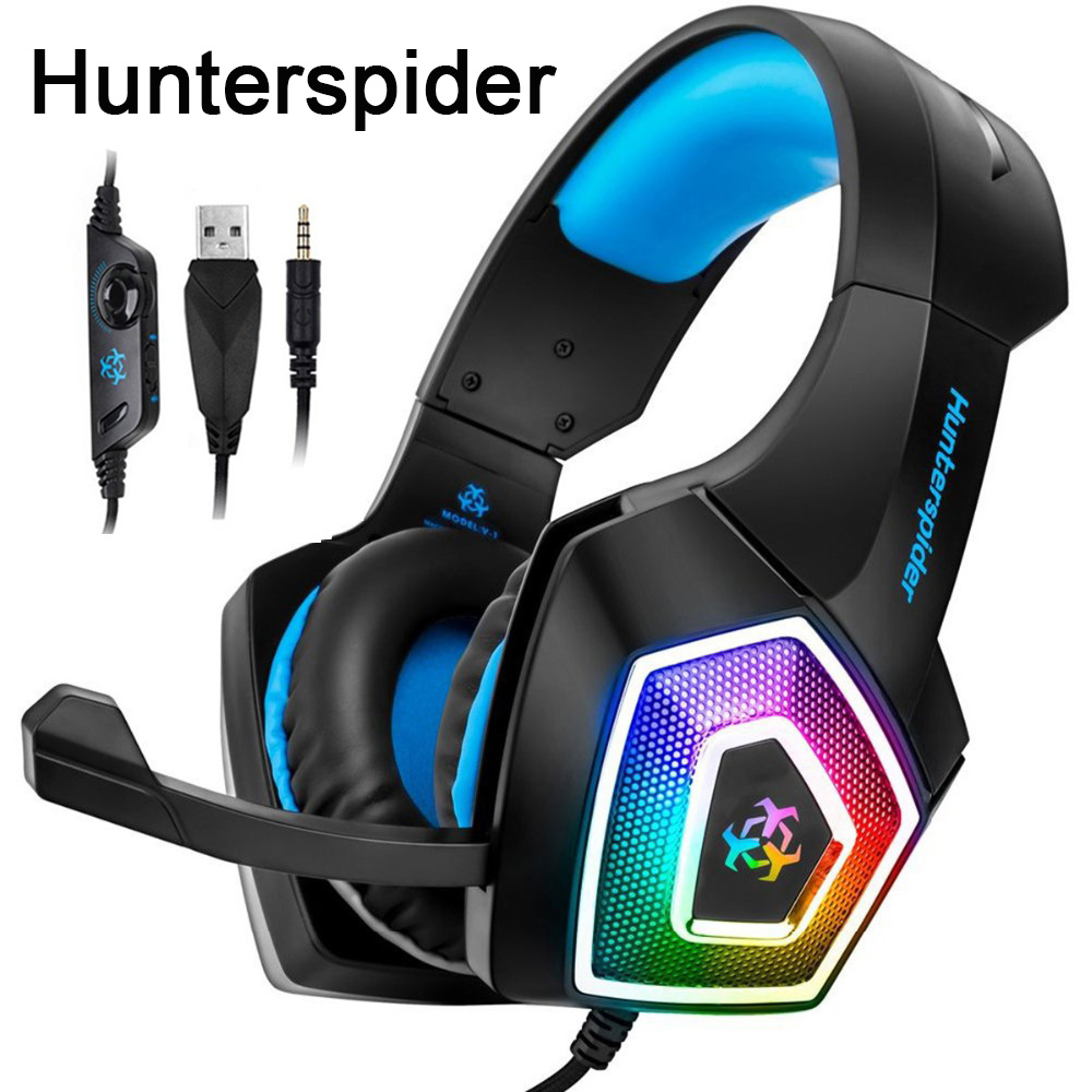 6609eeb7427 Hunterspider V1 Stereo Gaming Headset casque Surround Sound Over-Ear  Headphones with Mic LED Light for PS4/Xbox One/PC