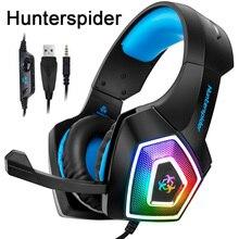 Hunterspider V1 игровая стереогарнитура шлем объемного звука через наушники-вкладыши с микрофоном светодиодный свет для PS4/Xbox One/PC