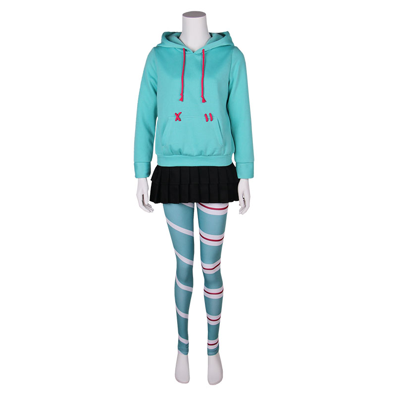 Film épave-It Ralph 2 Cosplay Costume Vanellope von Schweetz fille sweat à capuche enfants jupe Leggings femmes Halloween Costume ensembles