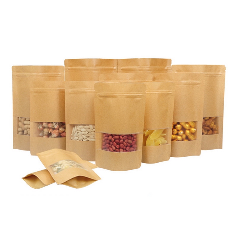 50pcs Kraft Paper Bags Sealed Gift Candy Bags Recyclable Food Container For Boutique Zip Lock Storage Packaging Shopping Bags