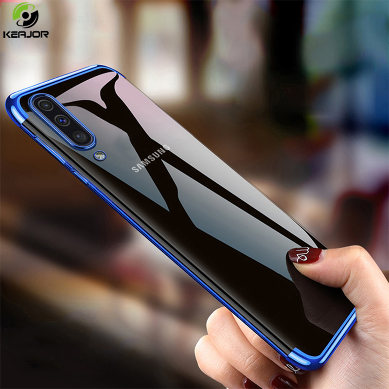 Keajor Case For <font><b>Samsung</b></font> Galaxy <font><b>A70</b></font> Case Luxury Plating Transparent Cover TPU Soft Silicon Phone Case For <font><b>Samsung</b></font> <font><b>A70</b></font> A 70 <font><b>Hoesje</b></font> image