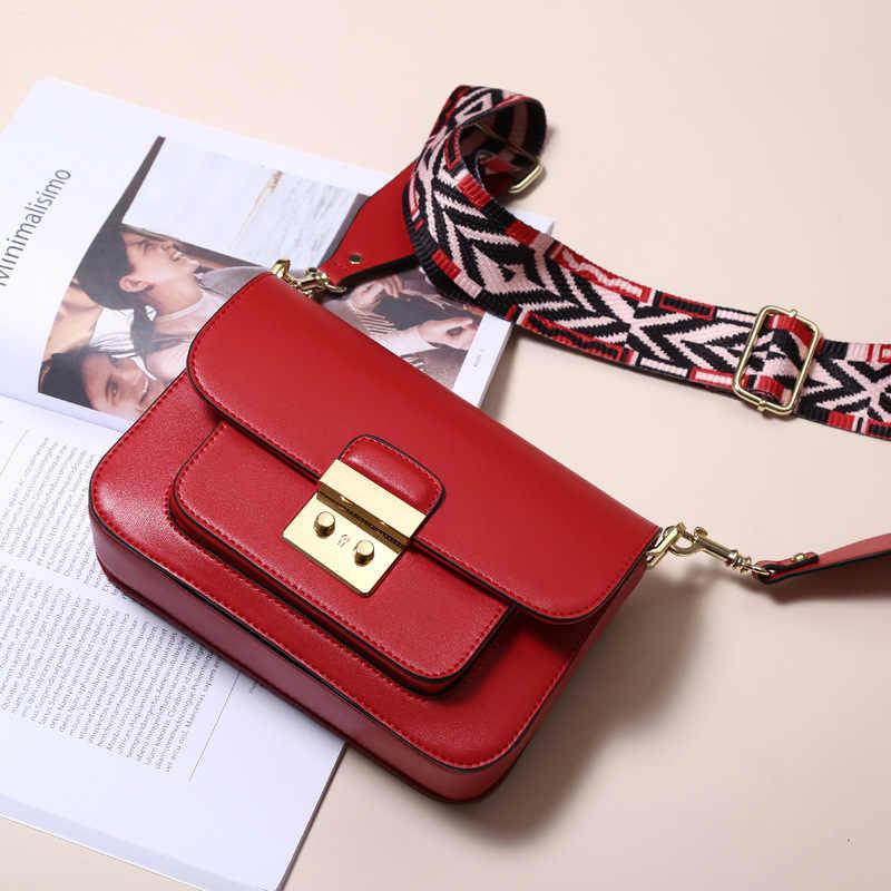 9eadd4c1218c 2019 Новая мода сумка женская одного плеча диагональ женская сумка цвет  широкий плечевой ремень небольшой площади
