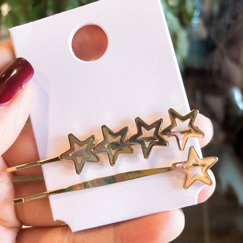 2Pcs Minimalist Metallic Gold One Word Hairpins Women Girls Cute Heart Star Glitter Polished Hair Clips Hair Styling Accessories in Women 39 s Hair Accessories from Apparel Accessories