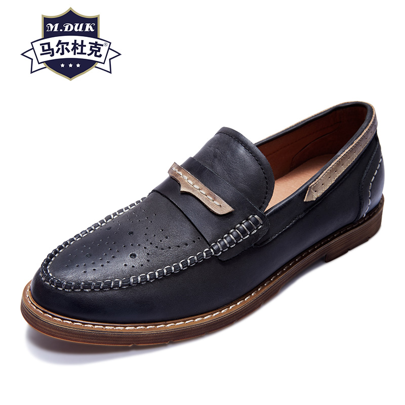 Genuine Leather men's loafer shoes Driving shoes men lazy spring autumn summer British retro all-match cowhide casual shoes osco spring summer business casual shoes wild lazy shoes british genuine leather breathable bean shoes men driving pedal loafer