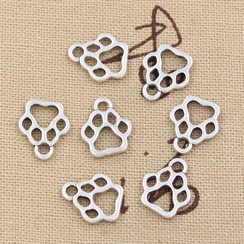 50pcs Charms Dog Paw 13x11mm Antique Silver Bronze Plated Pendants Making DIY Handmade Tibetan Silver Bronze Jewelry