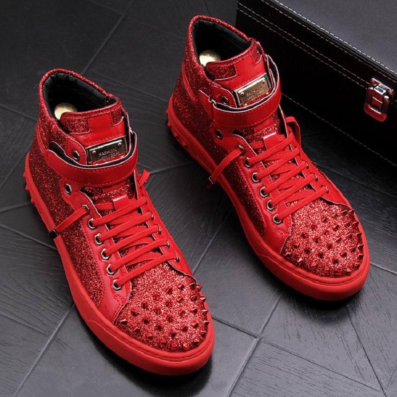 9aae8dbb Remaches Confort Punk Hombres Zapato Rojo Hombre Zapatos Casual Encanto rojo  Bling Negro Venta Caliente De ...