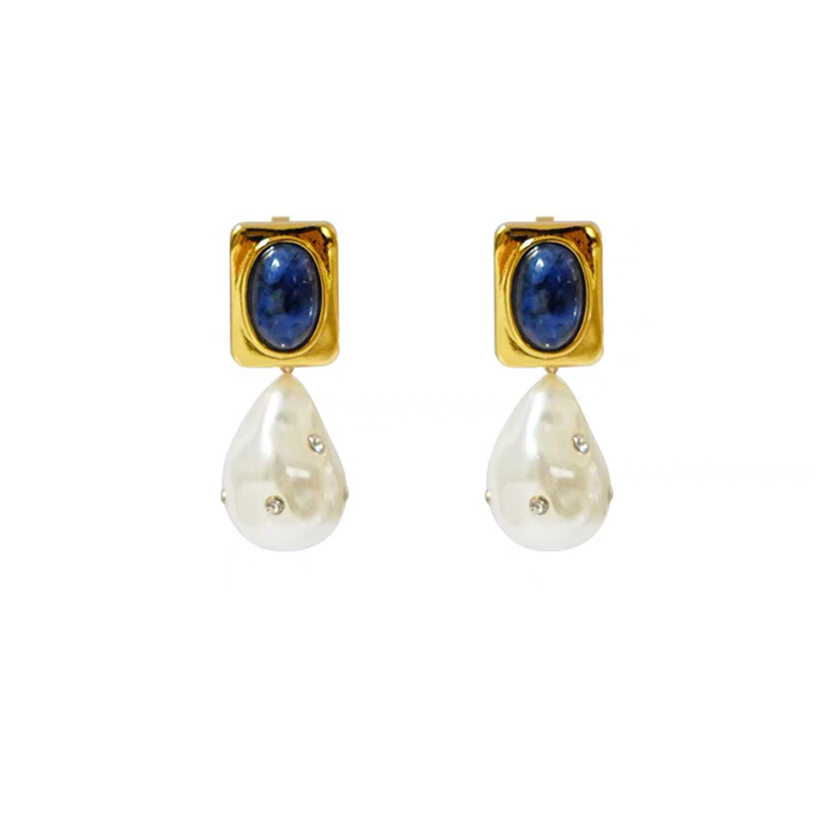 Designer Fashion Vintage Irregular Pearls Dangle Earrings Luxury Brand Lapis Stone Fine Jewelry Elaborate Marquetry-work Bijoux