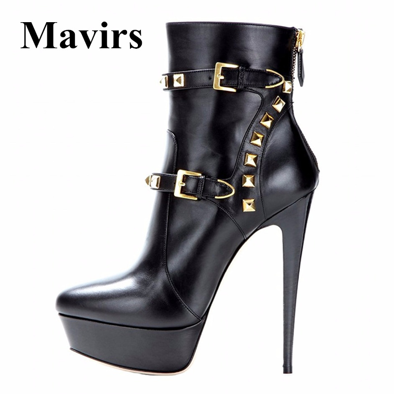 Mavirs Brand Rivet Platform High Heels Ankle Boots Women Pumps 2018 Round Toe 16 CM Heel Stiletto Bride Party Shoes US Size 5-15 mavirs brand women ankle boots 2018 pointed toe matt 4 75 inches chunky high heels black gray gold white shoes us size 5 15