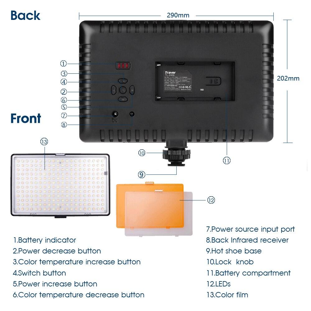 Travor 240 stks Led Video Light met 2 kleurenfilters 3200 K 5500 K IR - Camera en foto - Foto 4