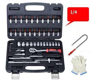 "46--53pcs 1/4"" ratchet handle socket sleeve wrench spanner screwdriver head extension rod bar set auto truck, tire repair tools"