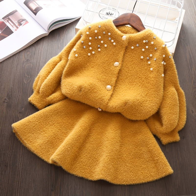 Child girls Autumn Thick clothing sets knitted Sweater clothes suit shirt + Short skirt 2 pieces outfits Kids Christmas Costume korean children s garment girl baby owl paillette sweater t shirt unlined upper garment short skirt you 2 pieces suit