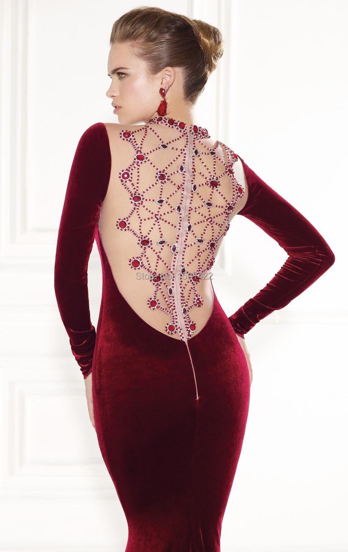 2015 Tarik Ediz Dress Burgundy Evening Gown Sexy Long Sleeve Velvet High  Neck Rhinestone Evening Dresses See Through Back Prom-in Evening Dresses  from ... 296abb5fa77c
