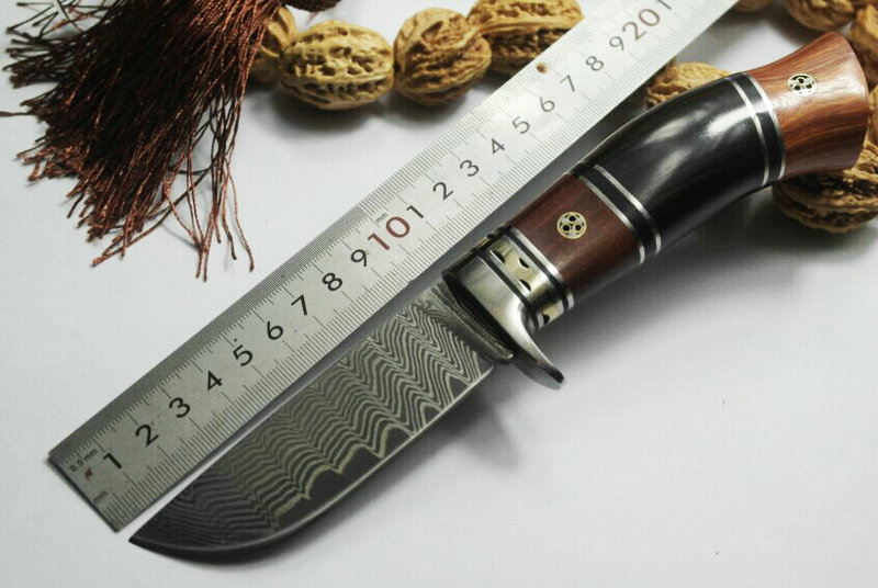 TRSKT Damascus Steel Collection Knife Hunting Knives Camping Sandalwood + Copper Handle Outdoor Rescue knife EDC tools все цены