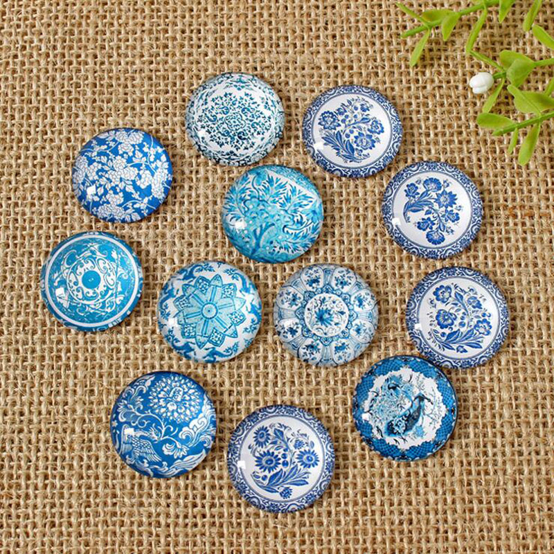 60pcs Mixed Flatback Round Pattern Ceramic Print Photo Glass Cabochon 8mm-35mm DIY Pendants Bracelets Components