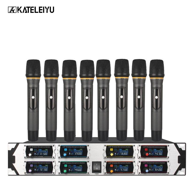 Microfono Senza Fili professionale Nuovo 8000GTA UHF 8 Canali Frequenza Fissa + Schermo + KTV + Microfono Professionale DinamicoMicrofono Senza Fili professionale Nuovo 8000GTA UHF 8 Canali Frequenza Fissa + Schermo + KTV + Microfono Professionale Dinamico