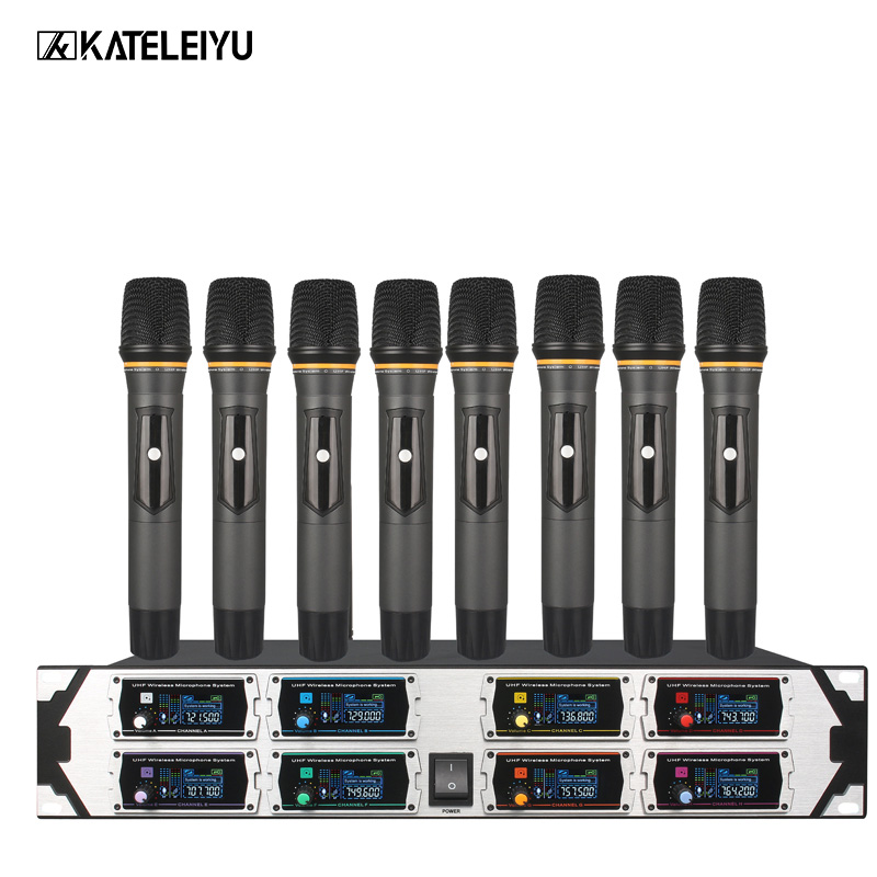 Professional wireless microphone 8000GTA UHF 8-channel fixed frequency dynamic screen display KTV conference vocal microphone