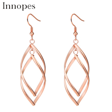 Innopes Fashion Double Loop Drop Earrings For Women Long Wave Dangle High Quality Statement Wedding Jewelry