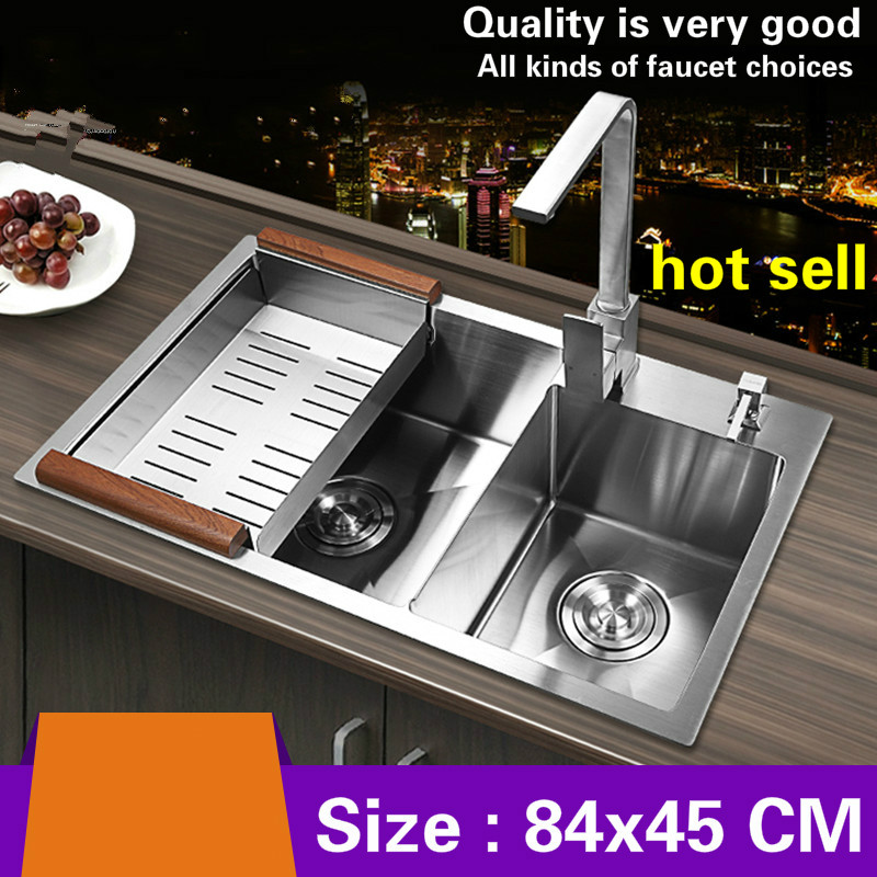 Free shipping Hot sell handmade food-grade 304 stainless steel big kitchen sink double groove thickening durable 840x450  MMFree shipping Hot sell handmade food-grade 304 stainless steel big kitchen sink double groove thickening durable 840x450  MM