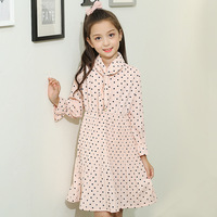 Dot Casual Dresses For Children Girls Evening Dresses Kids Party Dresses Chiffon Preppy Style Long Sleeve