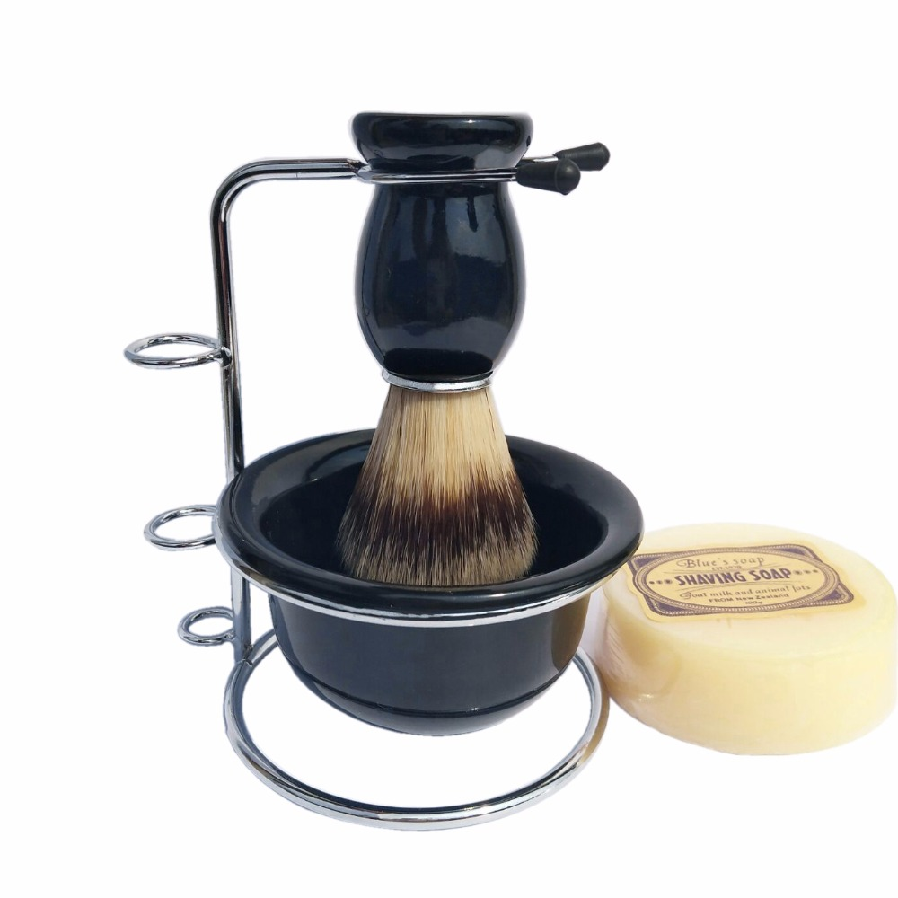 4pc/set Shaving Soap Foaming Lather and Badger Shave Brush Stand Acrylic Bowl for Mens Beard